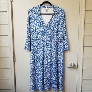 Jessica London Ruffle Sleeve Faux Wrap Midi Dress